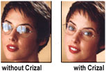 Glasses without and with Crizal