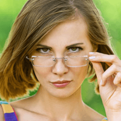 Woman with eye glasses