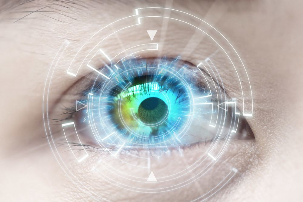 close up of eye with technology overlay - advanced cataract surgery concept