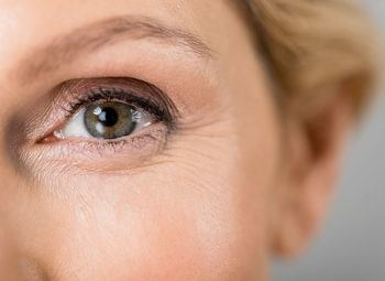 close-up of middle aged women's eye