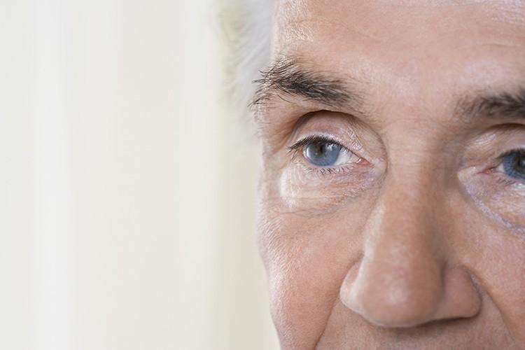 Close-up of a senior man's eye